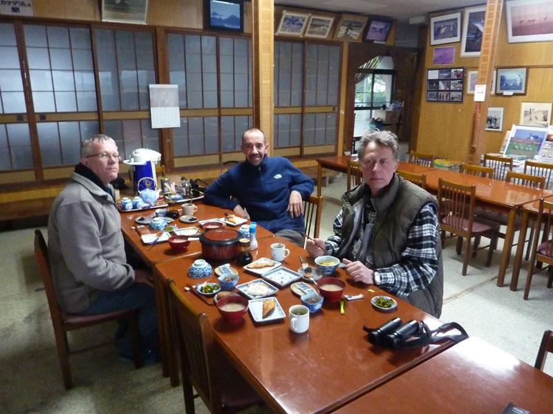 Dinner in onze minshuku, Arasaki, Japan (Henk Hendriks)
